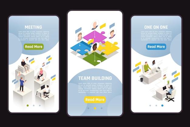 Conjunto de modelos isométricos com ilustração de construção de equipe virtual