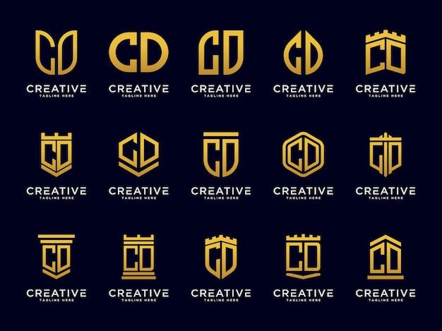 Conjunto de modelos logo letras do cd ícone inicial monograma