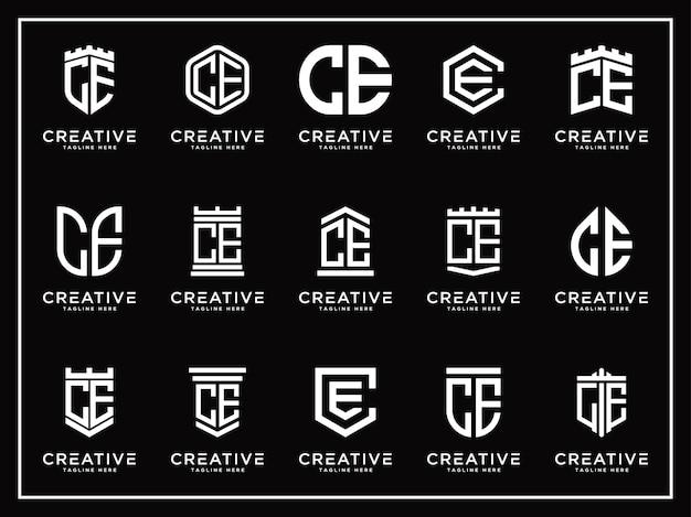 Conjunto de modelos logotipo ce letras ícone inicial monograma