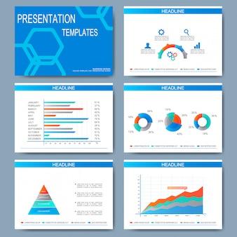 Conjunto de modelos para slides de apresentação. design empresarial moderno com gráfico e tabelas