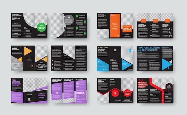 Conjunto de modelos pretos para brochuras de três dobras com espaço para fotos e várias formas geoméricas