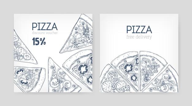 Conjunto de modelos quadrados de cupom promocional ou voucher de desconto com a mão de pizza desenhada com linhas de contorno