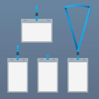 Conjunto de modelos transparentes de cartão de identificação isolado