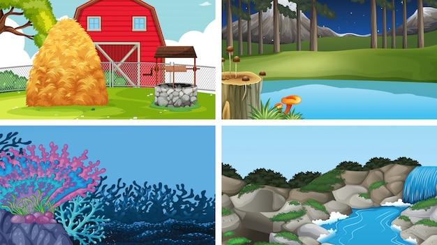 Conjunto de modelos vazios em branco de cenas de natureza ao ar livre