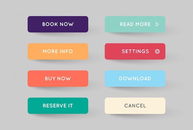 Conjunto de modern flat app ou botões de jogo
