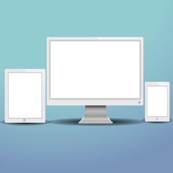 Conjunto de moderno monitor de computador de dispositivos digitais