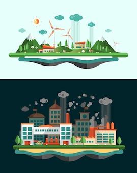 Conjunto de moderno plano conceitual ecológico