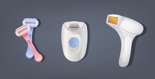 Conjunto de modernos depiladores a laser elétricos e lâminas de barbear