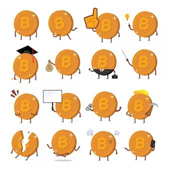 Conjunto de moeda criptográfica bitcoin
