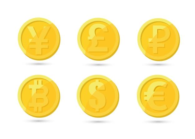 Conjunto de moedas criptográficas de ouro e prata com bitcoin dourado na frente de outras moedas criptográficas como líder isolado no fundo branco. use para logotipos, produtos impressos