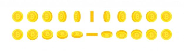 Conjunto de moedas de bitcoin de ouro de rotação vertical e horizontal.
