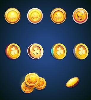 Conjunto de moedas de desenho animado