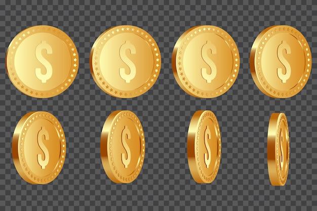 Conjunto de moedas de dólar metálicas douradas realistas em 3d, com rotação de 10-80 graus