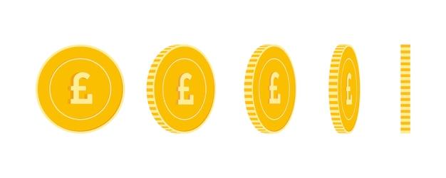Conjunto de moedas de libra esterlina, animação pronta. rotação de moedas amarelas gbp. dinheiro de metal do reino unido