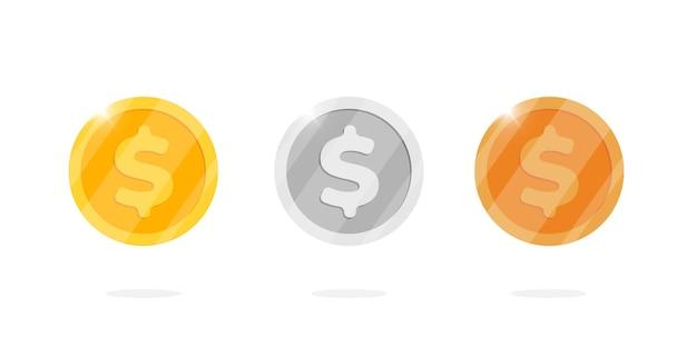 Conjunto de moedas de metal de ouro, prata e bronze, dólar, metal. ilustração em vetor plana cartoon símbolo financeiro isolado para jogo da web ou interface
