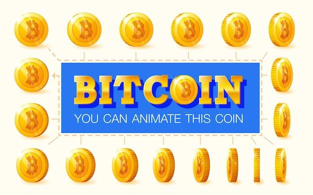 Conjunto de moedas de ouro com sinal de bitcoin para animação. ilustração vetorial