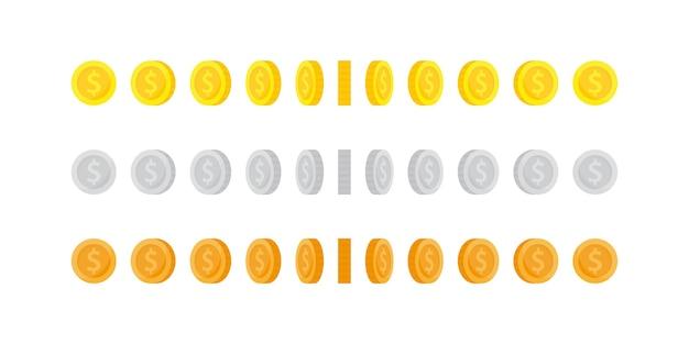 Conjunto de moedas de ouro de rotação vertical para animação