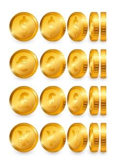 Conjunto de moedas de ouro dollar euro libra yen isoladas