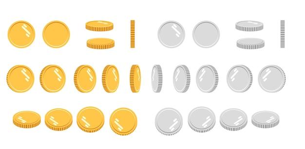 Conjunto de moedas de ouro e prata dos desenhos animados