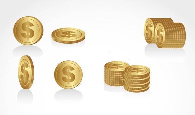 Conjunto de moedas de ouro em diferentes ângulos e apresentações