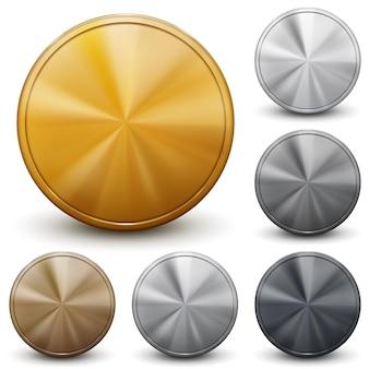 Conjunto de moedas de ouro, prata e bronze sem inscrições