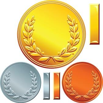 Conjunto de moedas de ouro, prata e bronze
