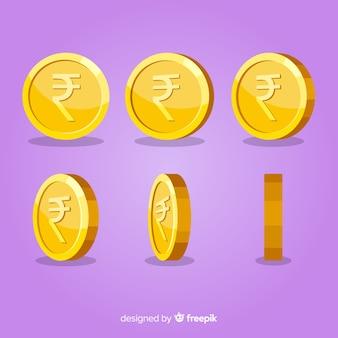 Conjunto de moedas de rupia indiana