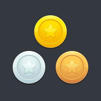Conjunto de moedas de videogame