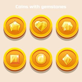 Conjunto de moedas diferentes dos desenhos animados com pedras preciosas dentro, para interface do jogo ou aplicativo da web