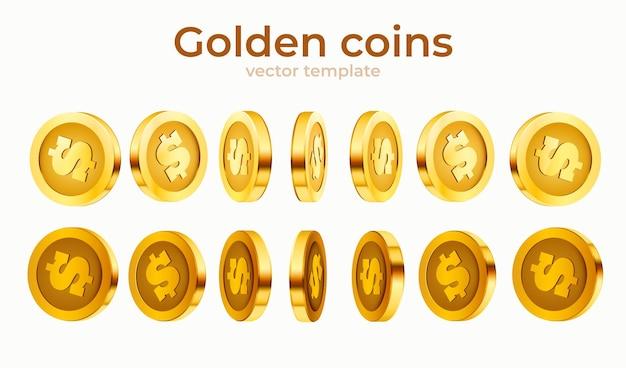 Conjunto de moedas isoladas de ouro 3d. posições diferentes.