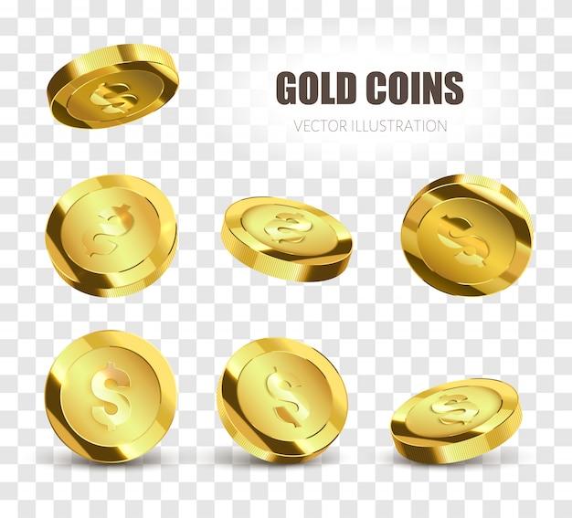 Conjunto de moedas. moedas de ouro realistas isoladas para seu projeto