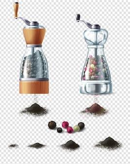 Conjunto de moinhos de especiarias com alças e punhados de pimenta preta moída
