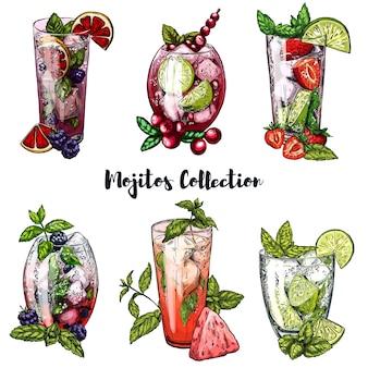 Conjunto de mojito cocktails com frutas
