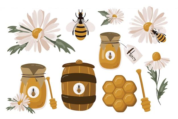 Conjunto de molas de mel e camomila.