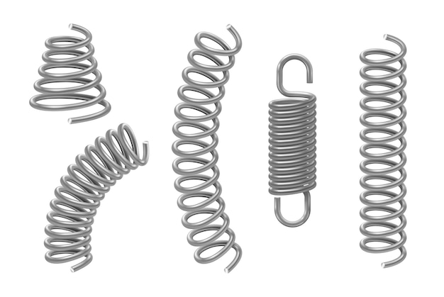 Conjunto de molas de metal de vários formatos cônicos