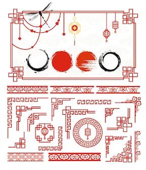 Conjunto de moldura asiática tradicional para cartões e círculo de tinta grunge de moldura em estilo japonês Vetor Premium
