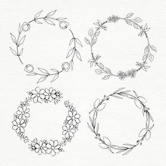 Conjunto de moldura circular floral desenhada à mão