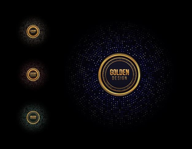 Conjunto de moldura com glitter dourado meio-tom pontilhado abstrato circular padrão retro