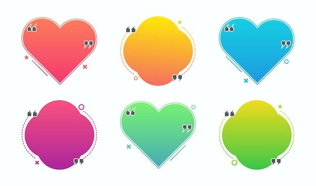 Conjunto de moldura de bolha de citação em design colorido