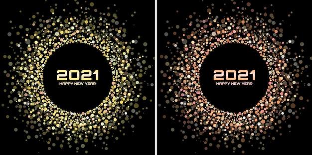 Conjunto de moldura de brilho de ano novo 2021. borda de confete de papel glitter colorido.