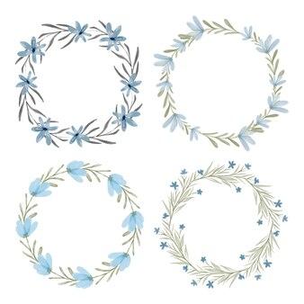 Conjunto de moldura de círculo de coroa floral azul aquarela