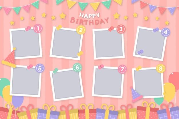 Conjunto de moldura de colagem de aniversário de design plano para cópia