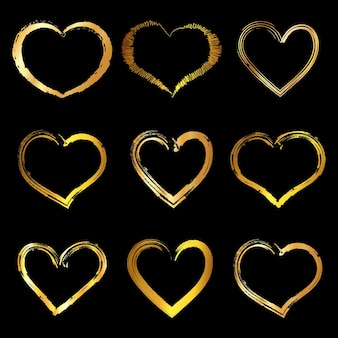 Conjunto de moldura de coração de ouro