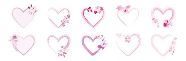 Conjunto de moldura de coração decorado com buquês de belas flores em aquarela rosa.