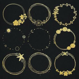 Conjunto de moldura de efeito ouro