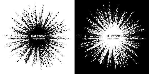 Conjunto de moldura de estrela de meio-tom. borda pontual de grunge usando textura raster de pontos de círculo de meio-tom.