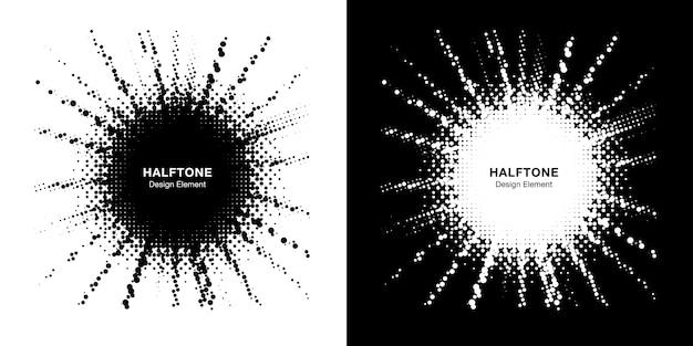Conjunto de moldura de estrela de meio-tom. borda pontual do grunge. elemento de design de venda. vetor