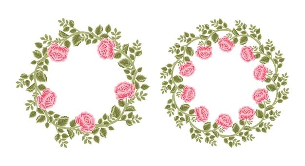 Conjunto de moldura de flor rosa vintage e arranjos de grinalda