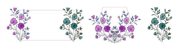 Conjunto de moldura de flores em aquarela com borda circular