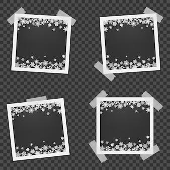 Conjunto de moldura de foto de natal com sombra